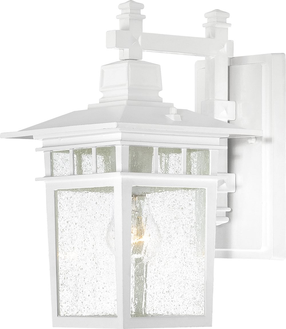 "11""H Cove Neck 1-Light Outdoor White / Clear Seeded"