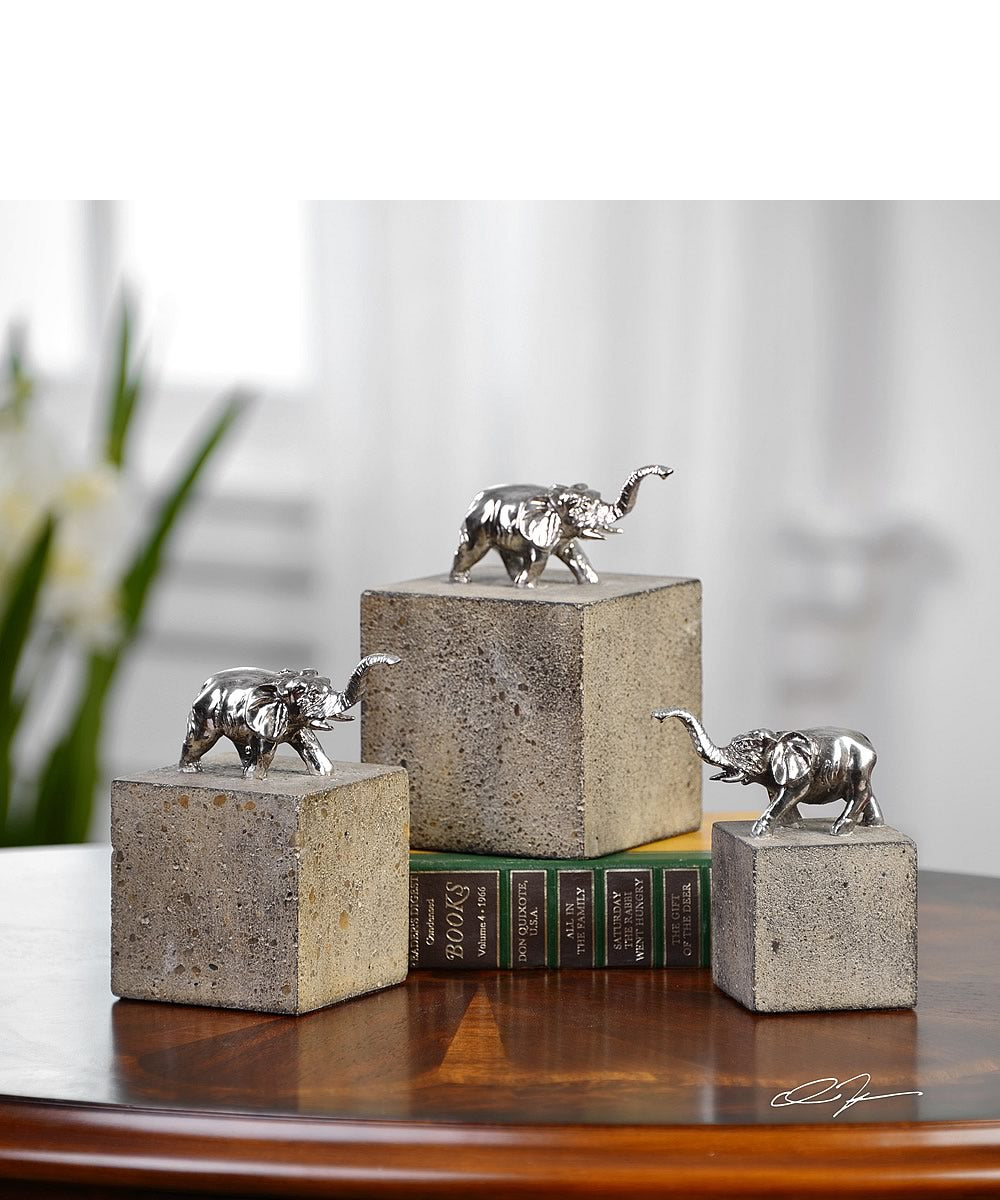 "6""H Tiberia Elephant Sculpture Set of 3"
