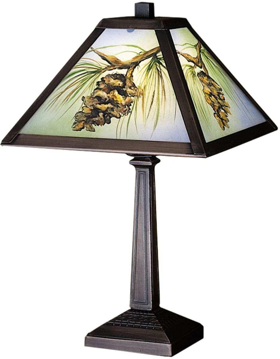 "16""H Pinecone Hand Painted Accent Lamp"