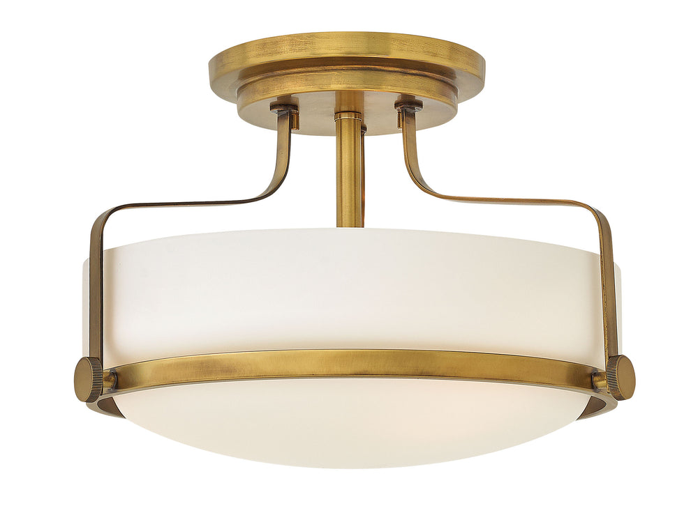 "15""W Harper 3-Light Semi Flush Mount in Heritage Brass"