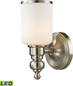 Bristol Way 1-Light LED Vanity Brushed Nickel/Opal White Glass