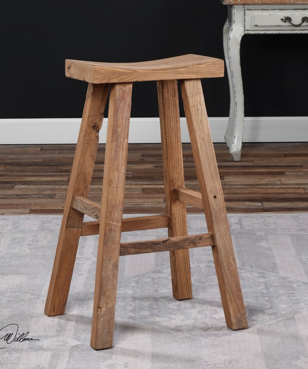 "30""H Holt Elm Wood Bar Stool"
