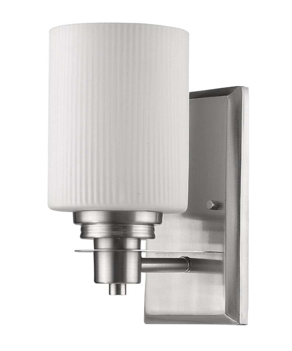 "5""W Amelia 1-Light Satin Nickel Sconce With Ribbed Glass Shade"