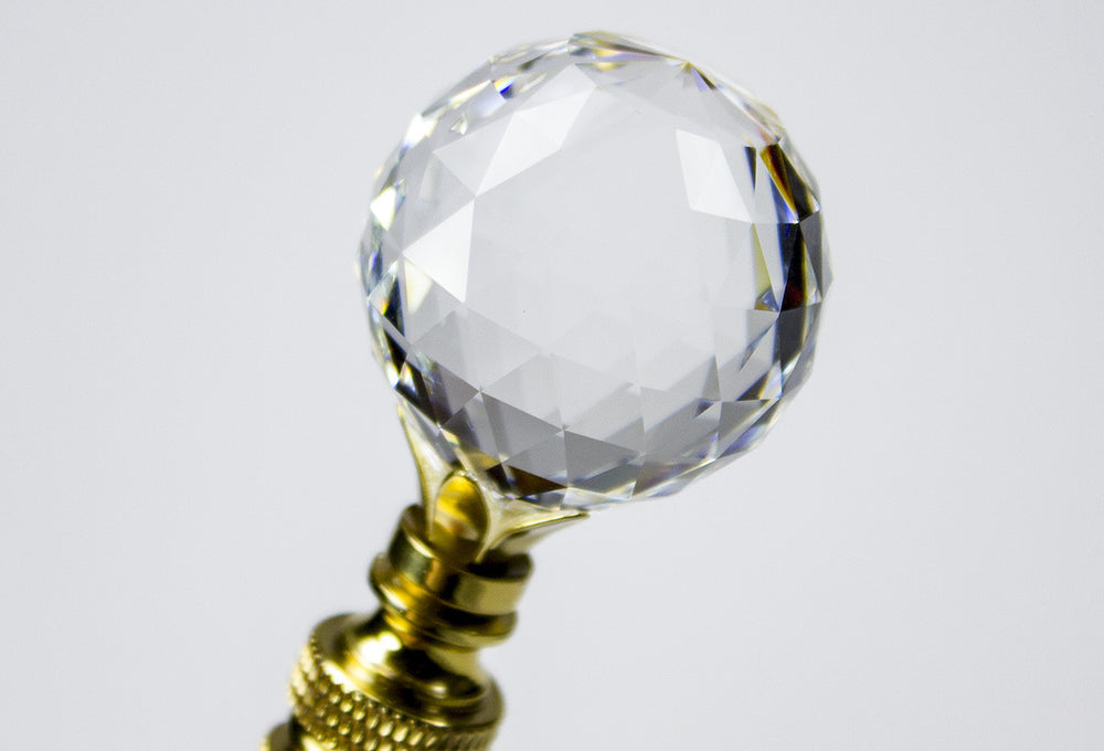 "Faceted Champagne Crystal Ball Finial Polished Brass 2.25""h"