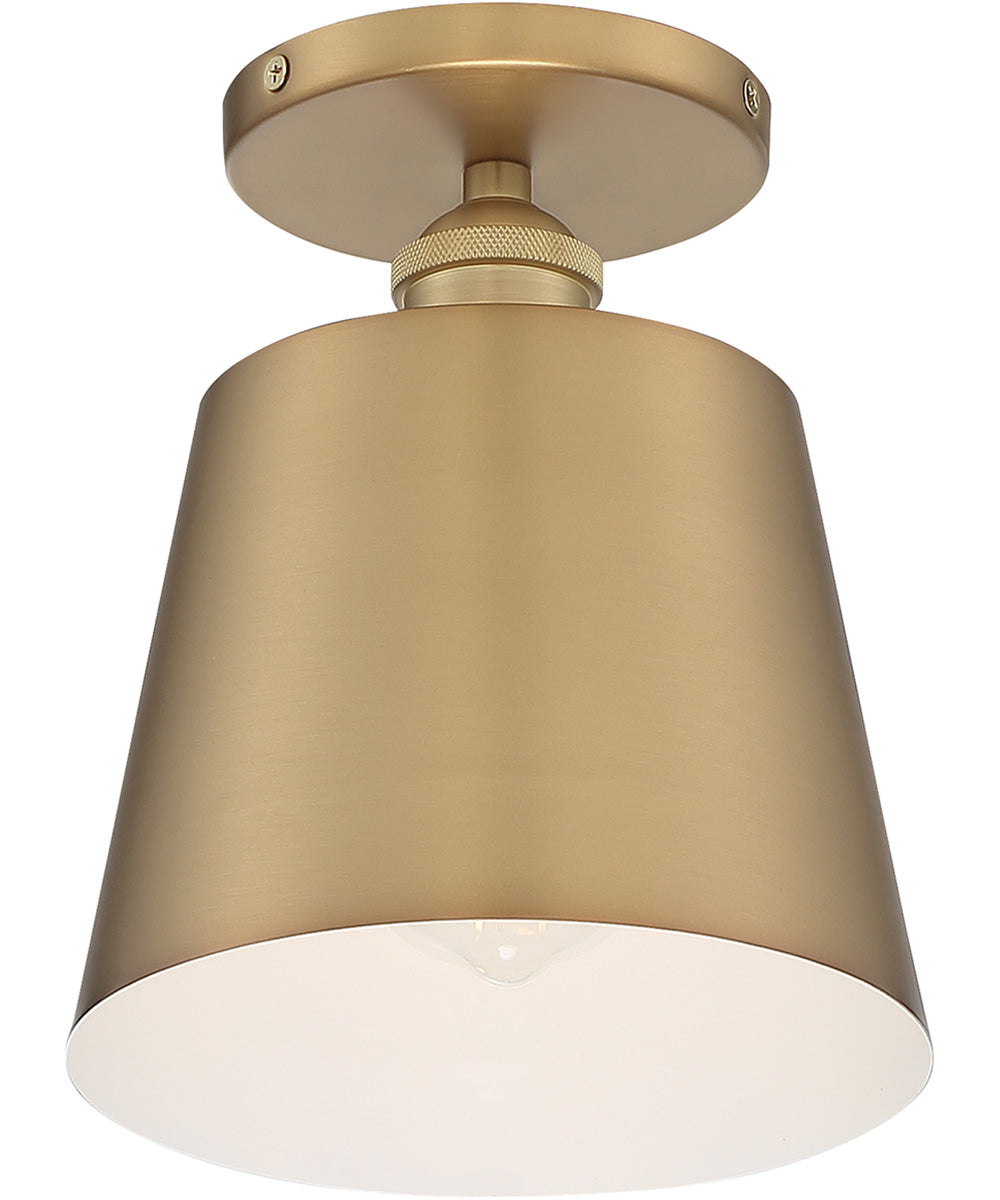 "7""W Motif 1-Light Close-to-Ceiling Brushed Brass / White Accents"