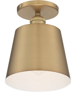 Motif 1-Light Close-to-Ceiling Brushed Brass / White Accents