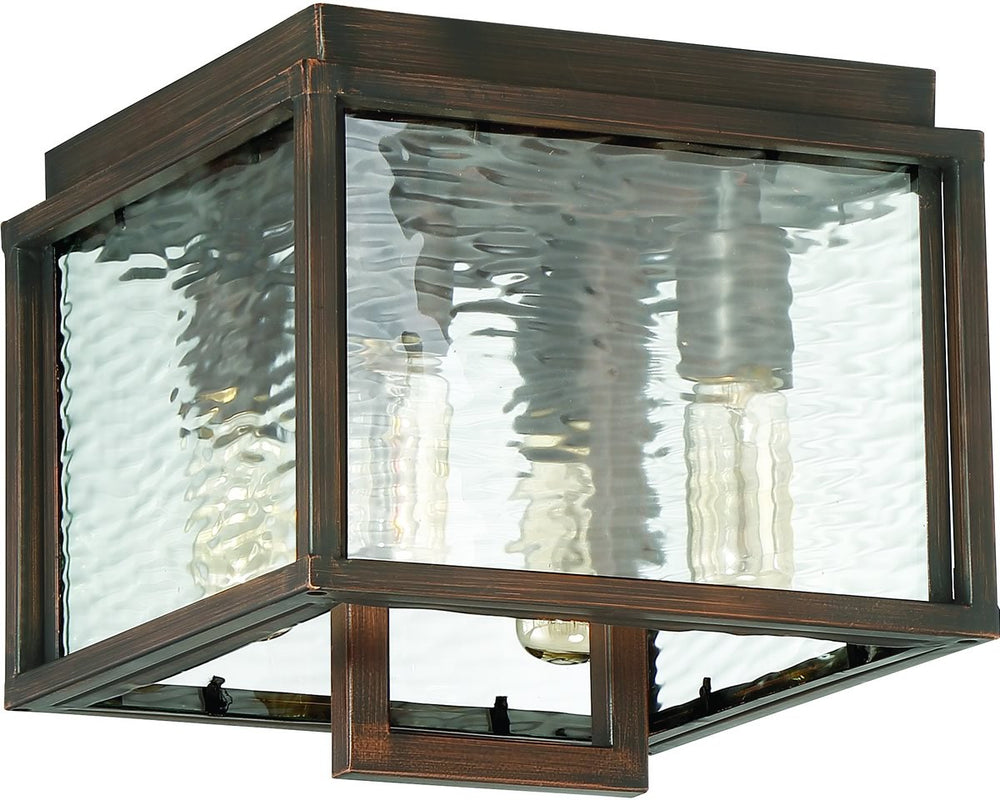 Cubic 4-Light Outdoor Flush Mount Aged Bronze Brushed