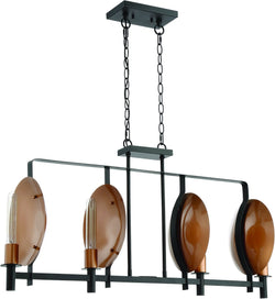 0-003160>Candela 4-Light Island Pendant Light Matte Black/Satin Copper