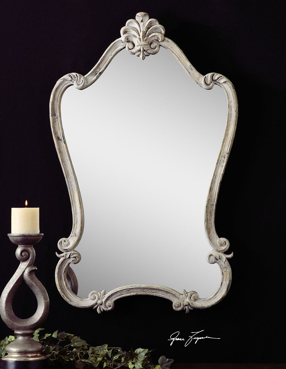 "36""H x 23""W Walton Hall Antique White Mirror"