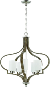 0-011522>Jasmine 5-Light Chandelier Polished Nickel/Weathered Fir