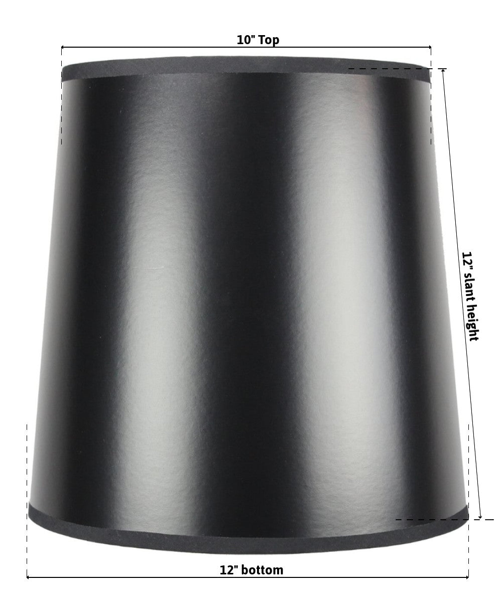 "12""W  x 12""H SLIP UNO FITTER Black Parchment Gold-Lined Drum Lampshade"