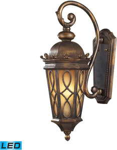 Burlington Junction 2-Light Outdoor LED Wall Sconce Hazlenut Bronze/ Amber Scavo Glass