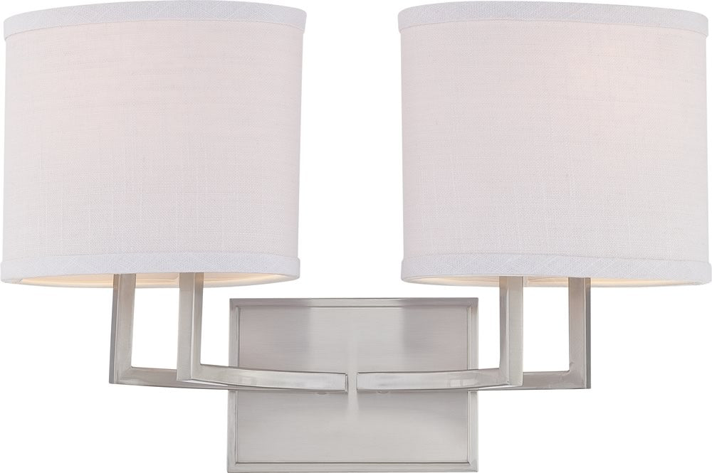 "18""W Gemini 2-Light Vanity & Wall Brushed Nickel"