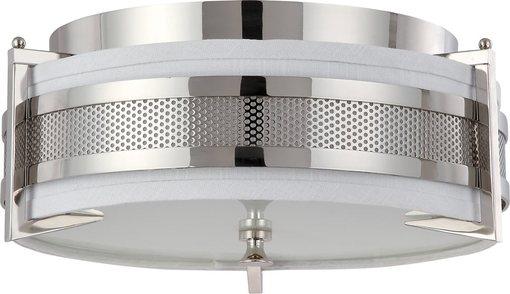 "16""W Diesel 3-Light Close-to-Ceiling Polished Nickel"