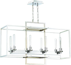 0-021544>Cubic 8-Light Chandelier Chrome