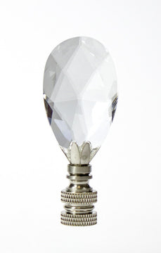 "3""H Swarovski Crystal Teardrop Finial Brushed Nickel"