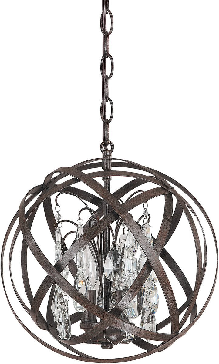"13""W Axis 3-Light Pendant Russet"