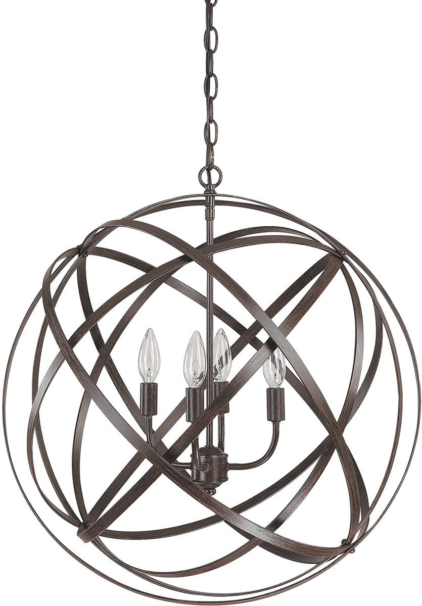 "23""W Axis 4-Light Pendant Russet"