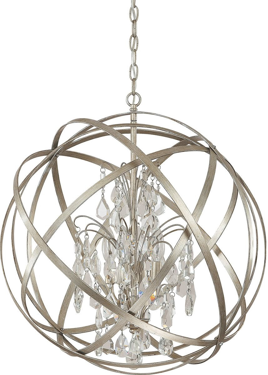 "23""W Axis 4-Light Pendant Winter Gold"
