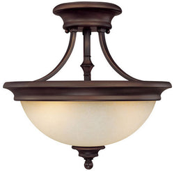 "15""w Belmont 2-Light Semi-Flush Fixtures Burnished Bronze"