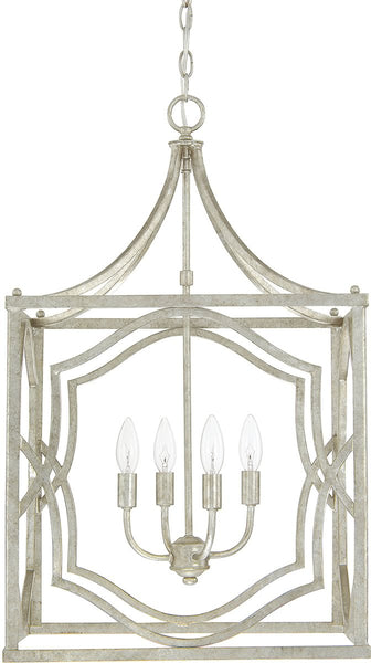 Capital Lighting Blakely 4-Light Foyer Fixture Antique Silver 9482AS