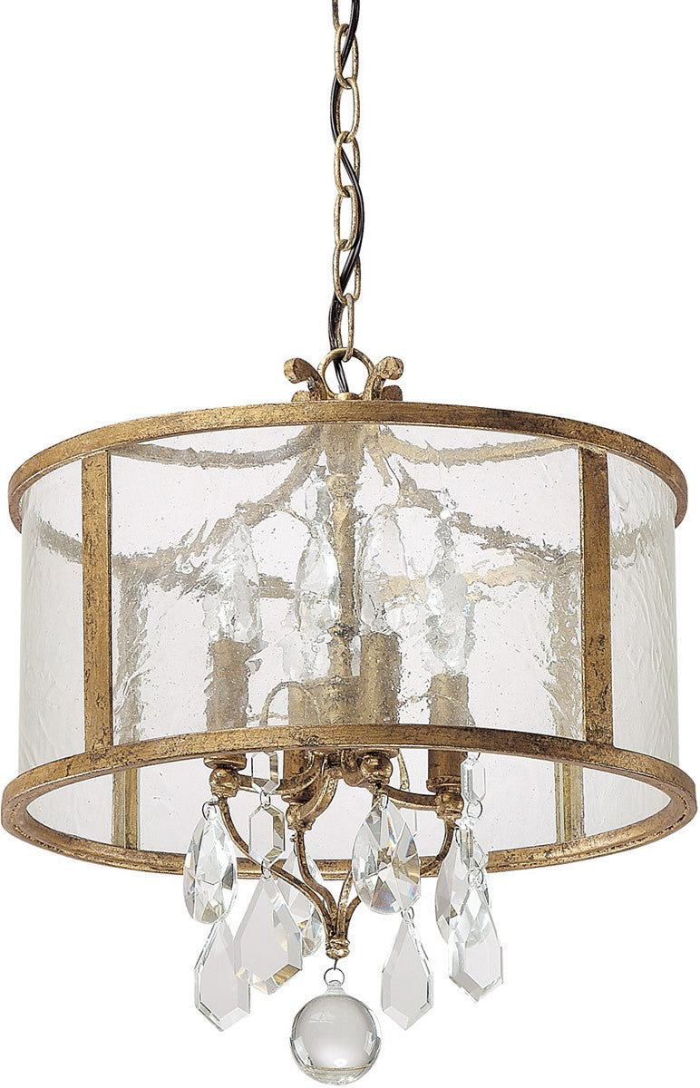 "15""w Blakely 4-Light Pendant Antique Gold"