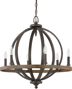 Capital Lighting Brayden 6-Light Pendant Iron and Oak 4906IA
