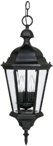 "10""w Carraige House 3-Light Outdoor Pendant Light Black"