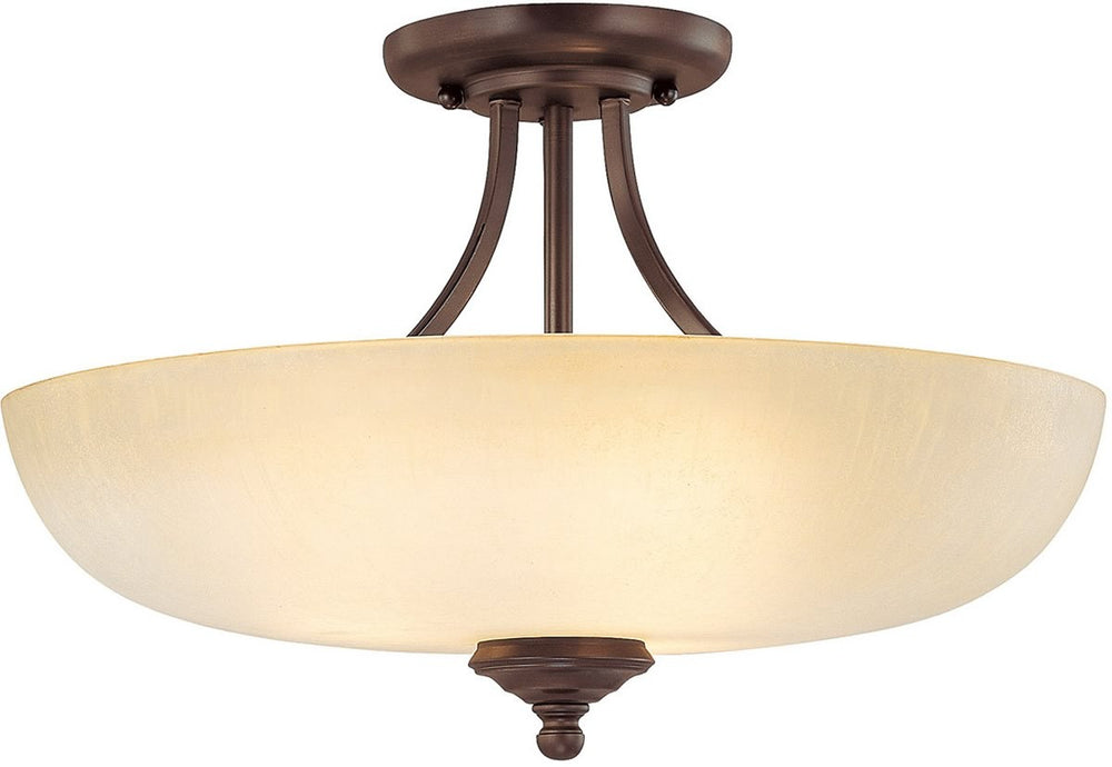"18""w Chapman 3-Light Semi-Flush Mount Burnished Bronze"