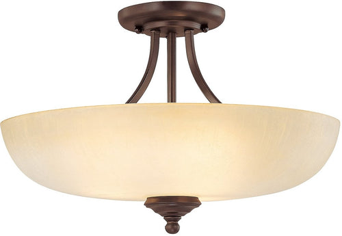 Capital Lighting Chapman 3-Light Semi-Flush Mount Burnished Bronze 3947BBTW