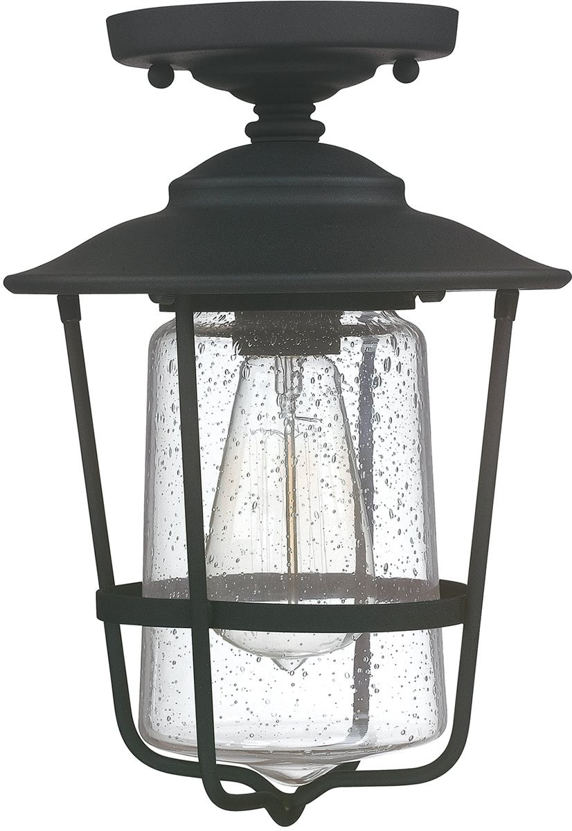 "8""W Creekside 1-Light Outdoor Ceiling Black"