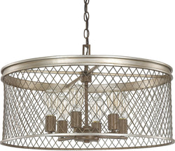 Capital Lighting Eastman 6-Light Pendant Silver and Bronze 4886SZ
