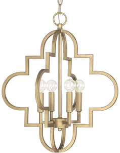 Capital Lighting Ellis 4-Light Pendant Brushed Gold 4541BG