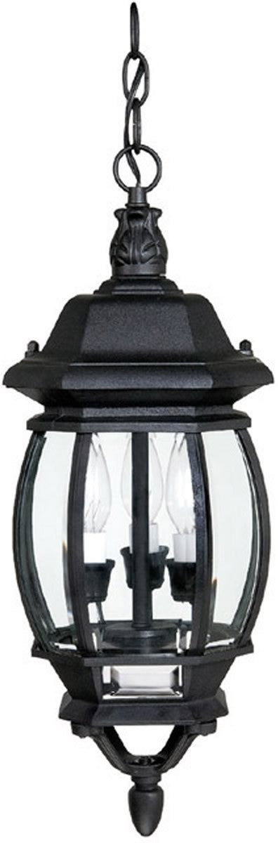 French County 3 Lamp Hanging Outdoor Lantern Black