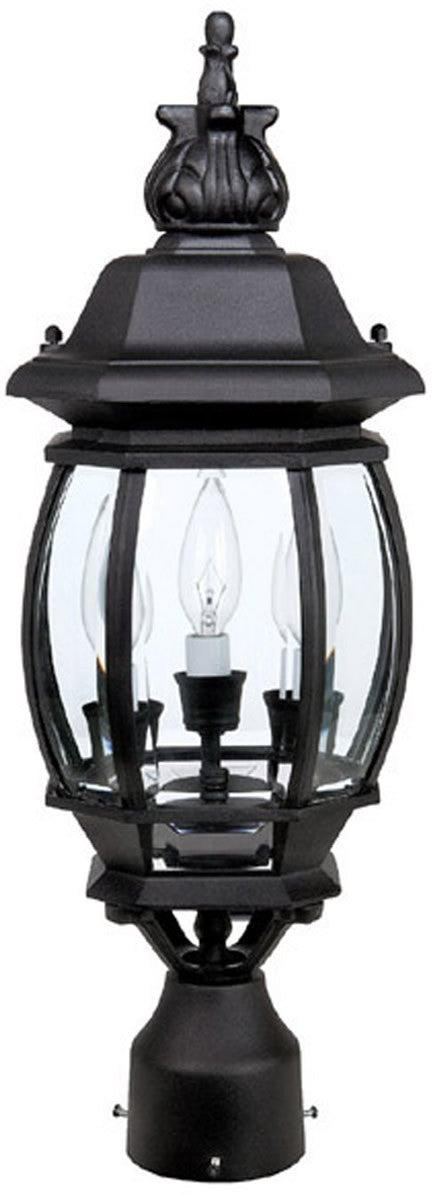 "23""H French County 3 Lamp Post Lantern Black"