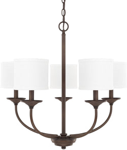 Capital Lighting Loft 5-Light Chandelier with White Shades Burnished Bronze 3925BB469