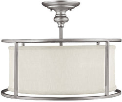"17""w Loft 3-Light Semi-Flush Fixtures Matte Nickel"