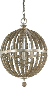 Capital Lighting Lowell 3-Light Pendant Tuscan Bronze with Wood Beads 4793TZ