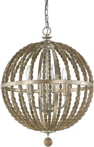 Capital Lighting Lowell 4-Light Pendant Tuscan Bronze with Wood Beads 4794TZ