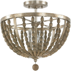 Lowell 3-Light Semi Flush Tuscan Bronze with Wood Beads