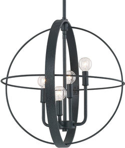 Capital Lighting Pendants 4-Light Pendant Black Iron 312541BI