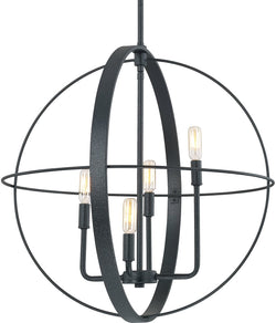 Capital Lighting Pendants 4-Light Pendant Black Iron 312542BI