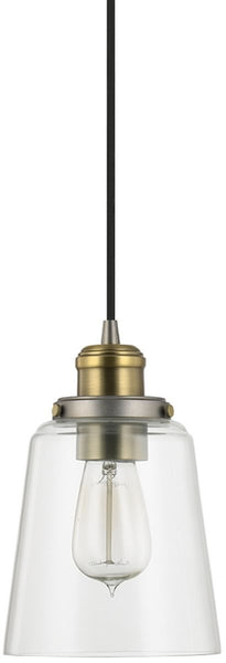 Capital Lighting Pendants 1-Light Mini-Pendant Graphite With Aged Brass 3718GA135