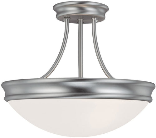 "14""w 3-Light Semi-Flush Mount Matte Nickel"