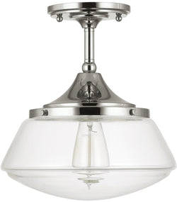 Semi-flush 1-Light Semi-Flush Polished Nickel
