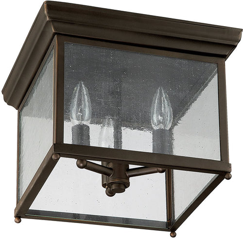 "12""w Signature 3-Light Outdoor Flush Mount Old Bronze"