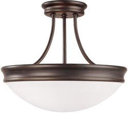 "14""w Signature 3-Light Semi-Flush Fixture Oil Rubbed Bronze"