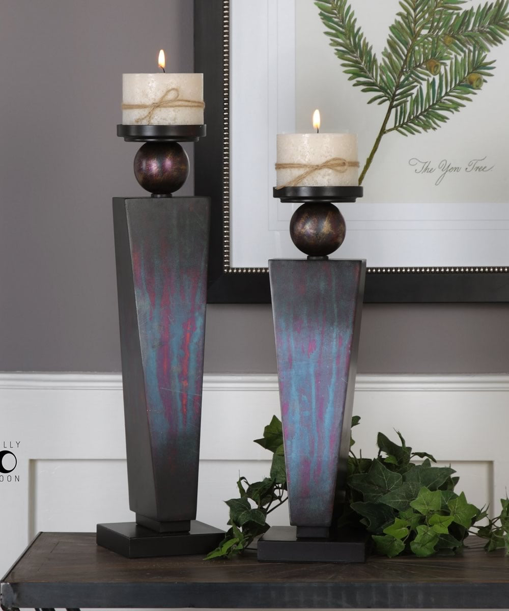 Geremia Oxidized Bronze Candleholders Set of 2