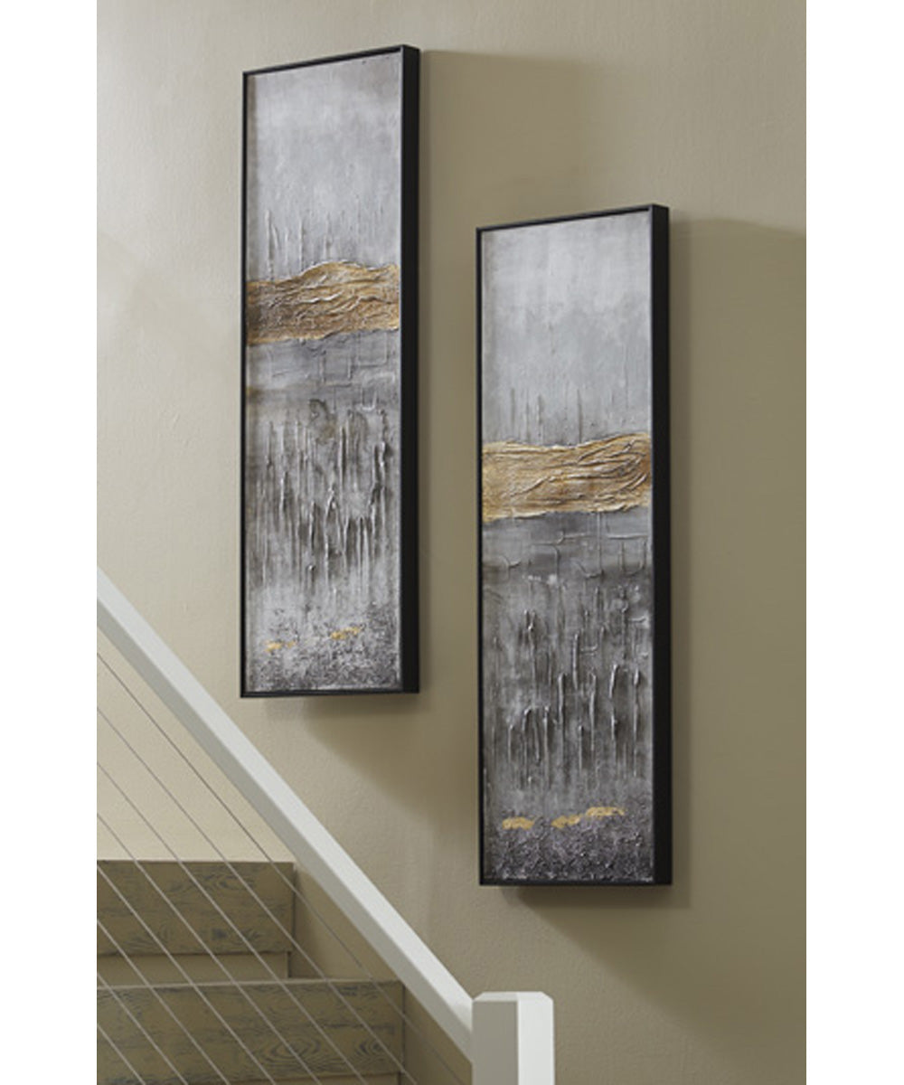 "47""H Aniyah Wall Art Set of 2 Black/Gold/White"