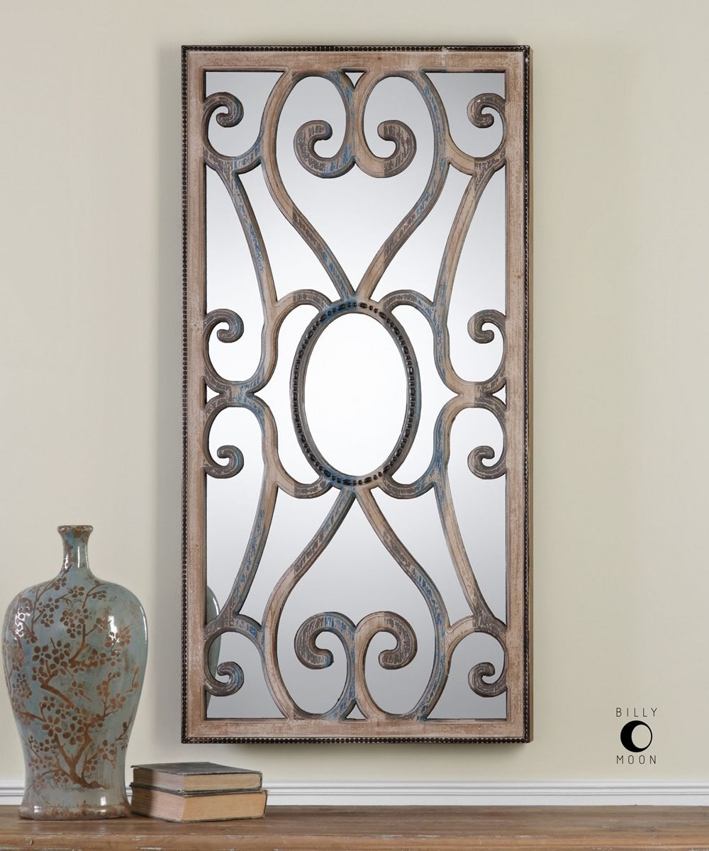 "48""H x 24""W Rosalind Carved Wooden Frame Mirror"